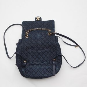 CHANEL Matrasse COCO Denim Quilted Backpack Navy